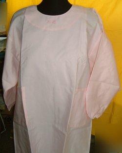画像1: 割烹着型エプロン ピンク アウトレット品 Lサイズ