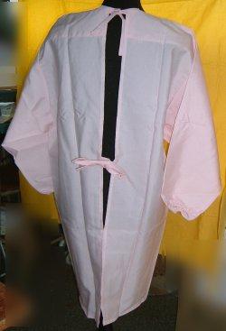 画像2: 割烹着型エプロン ピンク アウトレット品 Lサイズ