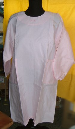 画像1: 割烹着型エプロン ピンク アウトレット品 Mサイズ
